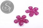 1 pc. handmade pink wire flower ~33mm-20