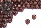 5 pcs. copper-colored filigree hollow metal beads 12mm-20
