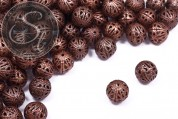 5 pcs. copper-colored filigree hollow metal beads 14mm-20