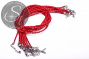 1 pc. red braided imitation leather necklace ~44cm-20