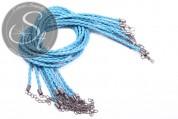 1 pc. turquoise braided imitation leather necklace ~44cm-20