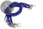 1 pc. dark-blue braided imitation leather necklace ~44cm-20