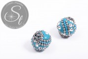 2 pcs. handmade turquoise Indonesian beads ~19mm-20