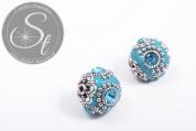 2 pcs. handmade turquoise Indonesian beads ~20mm-20
