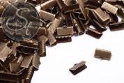 10 pcs. antique bronze-colored ribbon clamps ~13mm-20