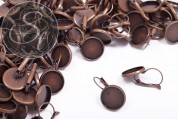 10 pcs. copper-colored ear hooks with setting 16mm-20