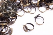 5 pcs. antique bronze-colored ring settings ~14mm-20