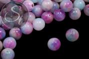 5 pcs. pink/white/blue white-jade beads 12mm-20