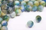5 pcs. blue/white/green/yellow white-jade beads 12mm-20