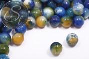 5 pcs. dark-blue/white/orange white-jade beads 12mm-20