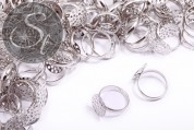 5 pcs. platinum-colored ring settings ~14mm-20
