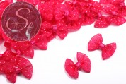 4 pcs. handmade cyclamen-colored ribbons with white dots ~23mm-20
