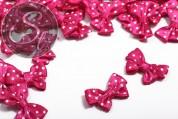 4 pcs. handmade pink satin ribbons with white dots ~24mm-20
