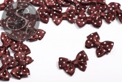 4 pcs. handmade brown satin ribbons with white dots ~24mm-20