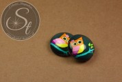 "1 pc. round ""owl"" glass cabochon 16mm-20"