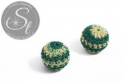 1 pc. with dark-green/yellow yarn hand woven acrylic bead ~ 21mm-20