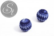 1 pc. with dark-blue yarn hand woven acrylic bead ~ 21mm-20