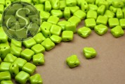 "20 pcs. opaque/green Czech ""2-hole/diagonal"" glass beads 6mm-20"