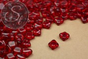 "20 pcs. red Czech ""2-hole/diagonal"" glass beads 6mm-20"