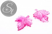 2 pcs. pink acrylic-leaves pendants transparent 48mm-20