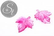 2 pcs. pink lucite-leaves pendants transparent 48mm-20
