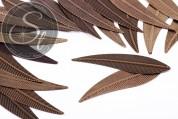 5 pcs. large antique bronze-colored metal leaf pendants 73mm-20