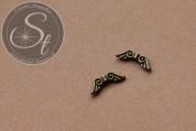 6 Stk. bronzefarbene Flügel-Perlen aus Metall 16mm-20
