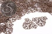 4 pcs. antique bronze-colored filigree metal elements 37.2mm-20