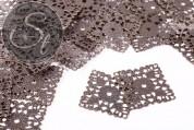 4 pcs. square antique bronze-colored filigree metal elements 41.5mm-20