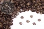 50 pcs. antique bronze-colored flower bead caps 9mm-20