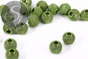 4 pcs. green metal mesh beads ~15mm-20