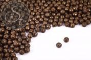 30 pcs. antique bronze-colored filigree hollow metal beads 8mm-20