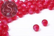 15 pcs. round pink synthetic resin cateye-look beads 10mm-20