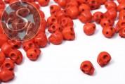 5 pcs. orange synthetic howlite skull beads 9mm-20