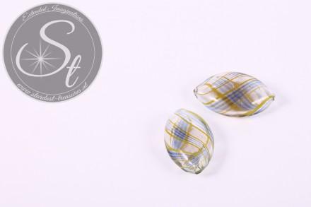 2 Stk. handgemachte flache ovale Glashohlperlen 25-27mm-31