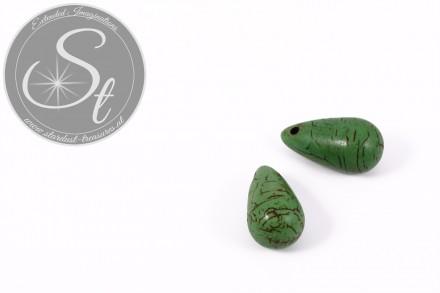 2 Stk. grüne tropfenförmige Türkis Pendants 26mm-31