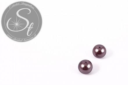 4 Stk. bräunlich-graue runde Südsee Muschel Perlen 10mm-31