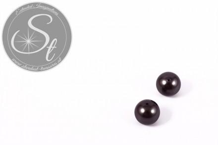 4 Stk. anthrazitfarbene runde Südsee Muschel Perlen 10mm-31
