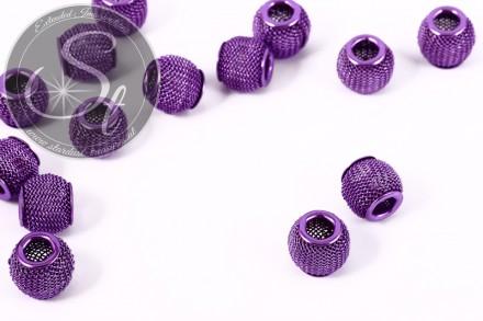 5 Stk. lila Metallgitter Perlen ca. 11mm-31