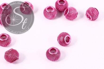 5 Stk. rosa Metallgitter Perlen ca. 12mm-31