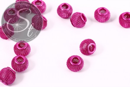 5 Stk. pinke Metallgitter Perlen ca. 12mm-31