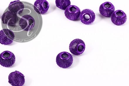 5 Stk. lila Metallgitter Perlen ca. 12mm-31