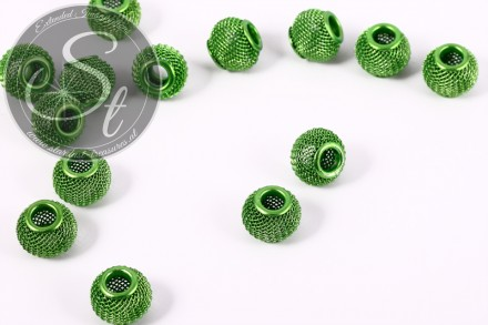 5 Stk. grüne Metallgitter Perlen ca. 12mm-31