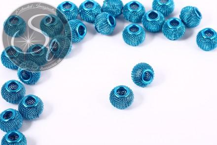 5 Stk. blaue Metallgitter Perlen ca. 12mm-31
