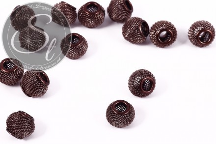 5 Stk. graubraune Metallgitter Perlen ca. 12mm-31