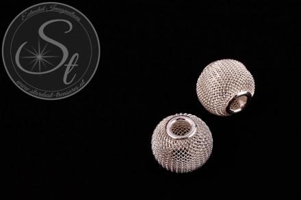 2 Stk. silberfarbene Metallgitter Perlen ca. 19mm-31
