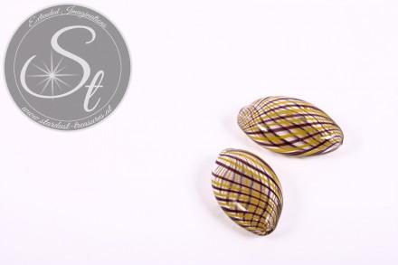 2 Stk. handgemachte flache ovale Glashohlperlen 21mm-31