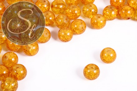 10 Stk. orange Crackle Glas Perlen 12mm-31