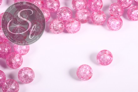 10 Stk. rosa Crackle Glas Perlen 12mm-31