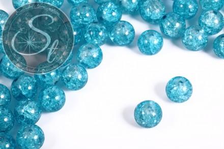 10 Stk. türkise Crackle Glas Perlen 12mm-31